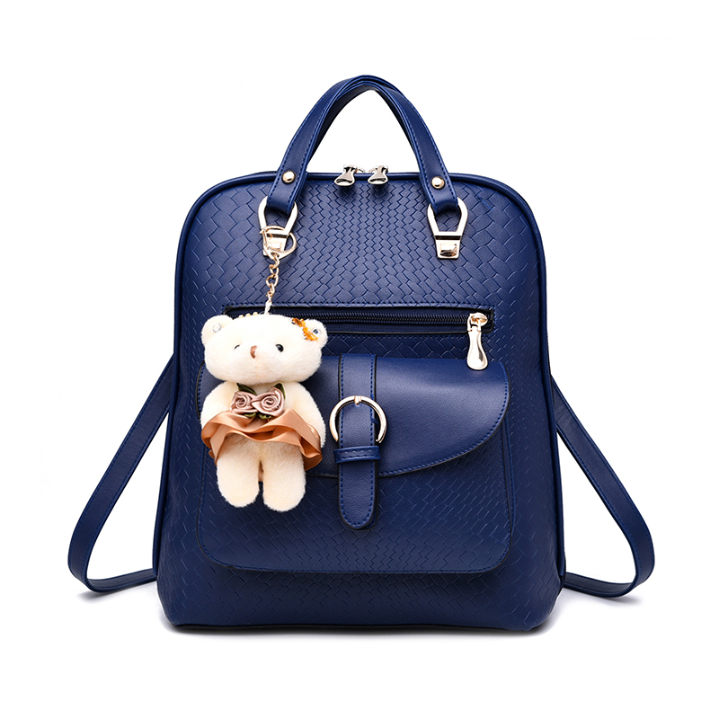 Free Shipping 2017 new alligator woman backpack Solid color bear ornaments large capacity bag
