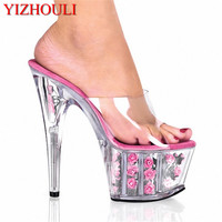 15 cm high with cool slippers Noble star temperament gown photo transparent glass slipper shoes sexy flowers