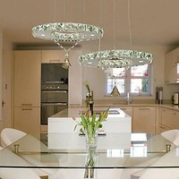220V Modern Pendant Lights With Remote Controller In Crystal Feature