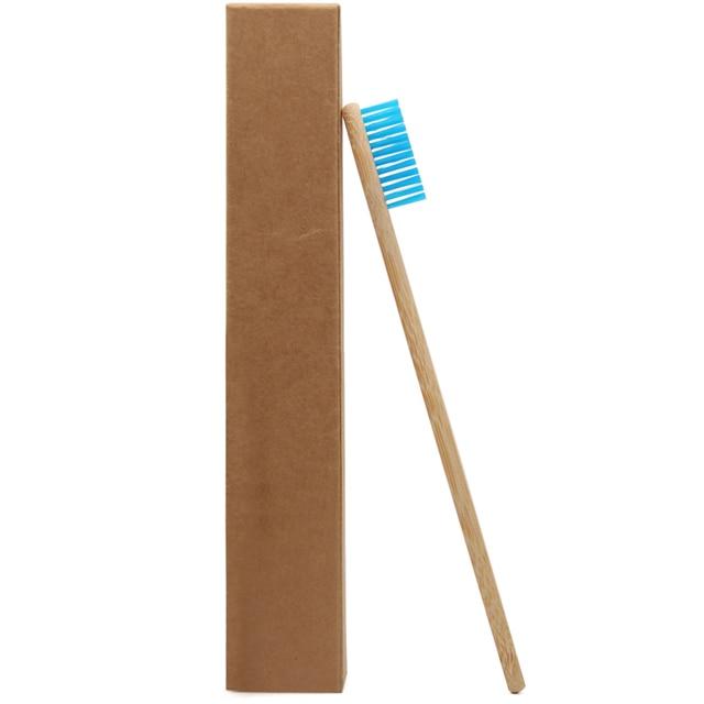 Cepillo de dientes de bambú de cabeza azul genken, al por mayor, cepillo de dientes de bambú azul y madera, cerdas suaves para el cuidado bucal