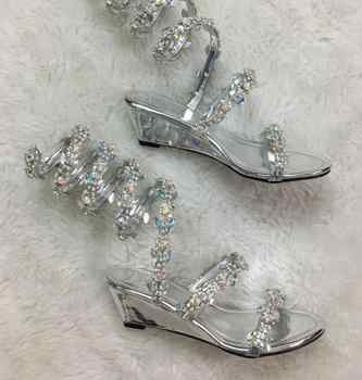 YUE JABON Summer Flats Sandal Gladiator Rhinestone Knee High Slip On Woman Boots Bohemia Style Crystal Beach Wedge Shoes - DISCOUNT ITEM  40 OFF Shoes