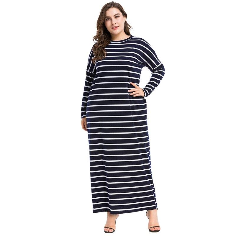 Grande taille M-4XL Abaya musulman rayé robe islamique arabe Abayas à manches longues caftan dubaï robes islamiques pour les femmes vestidos