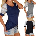 CELMIA S-5XL Fashion Women Lace Stitching Slim T-shirt Female Casual Hollow Short Sleeve O neck Summer Tops Tee Shirt Plus Size