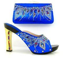 Artikel-nr. DF16-100 BLUE Heißer verkauf italienische schuhe mit passenden taschen mit strass