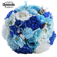 Mint Blue Wedding Bouquet Artificial Silk Fabric Bride Bouquet Buque De Casamento White Rose Wedding Flower