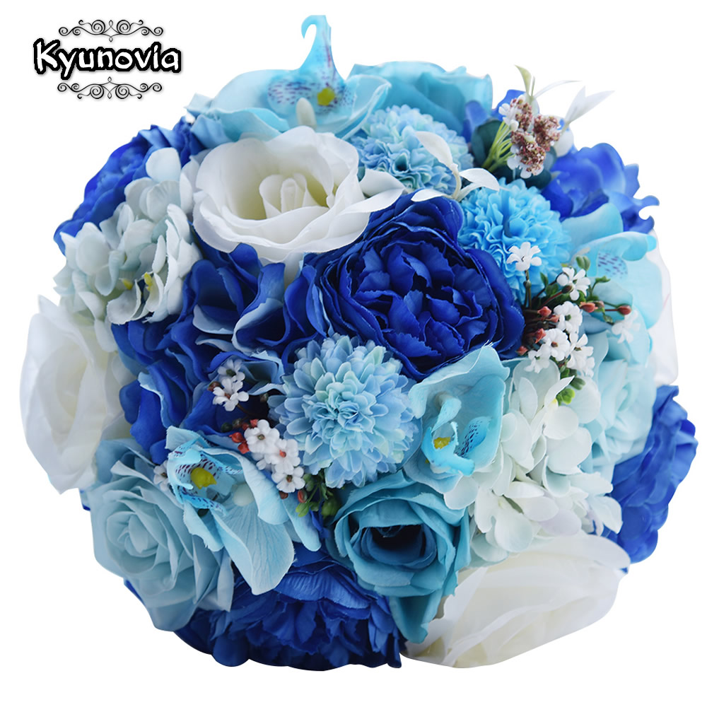 Kyunovia Mint Blue Wedding Bouquet Artificial Silk Bride Bouquet buque de casamento Rose Wedding Flower Bunches Bouquet FE57