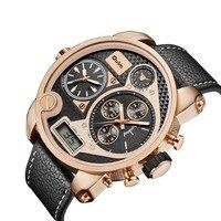 Роскошные брендовые OULM часы большие наручные часы Мужские Модные Военные Спортивные часы двойной дисплей Кварцевые часы relogio masculino