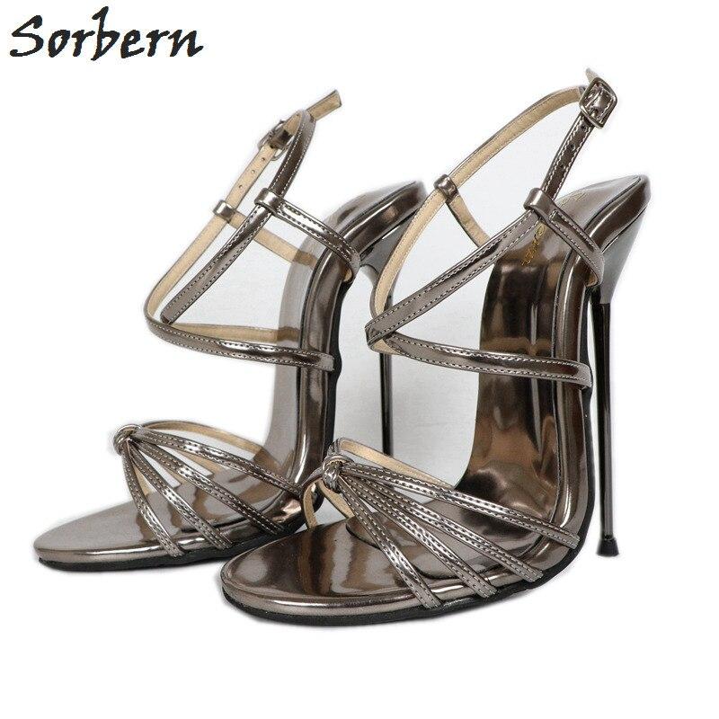 Sorbern блестящий серый тонкий металлический высокий каблук 14 см сандалии с перекрещивающимися ремешками женская обувь на заказ с красной под