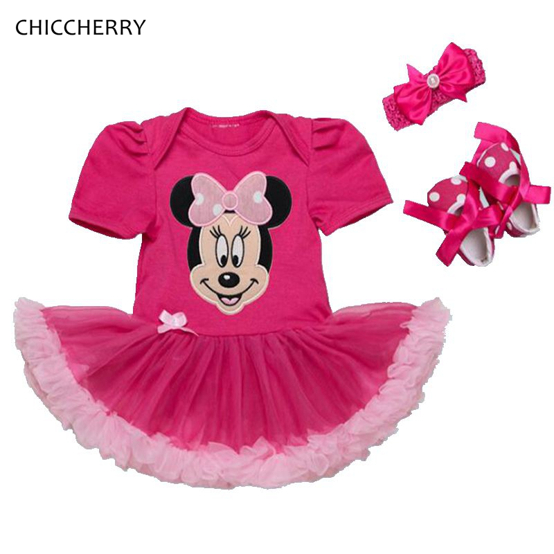 Summer Minnie Baby Girl Clothes Lace Romper Dress Headband Crib Shoes Newborn Tutu Sets Toddler Birthday Outfits Infant Clothing