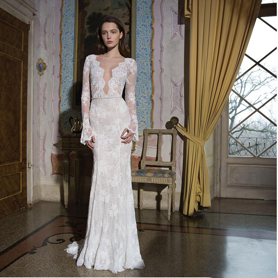 7b138769 Vestido De Noiva Berta Sequin Lace Mermaid Wedding Dresses Long Sleeve Sexy  Deep V Neck Backless Bridal Gowns Sweep Train