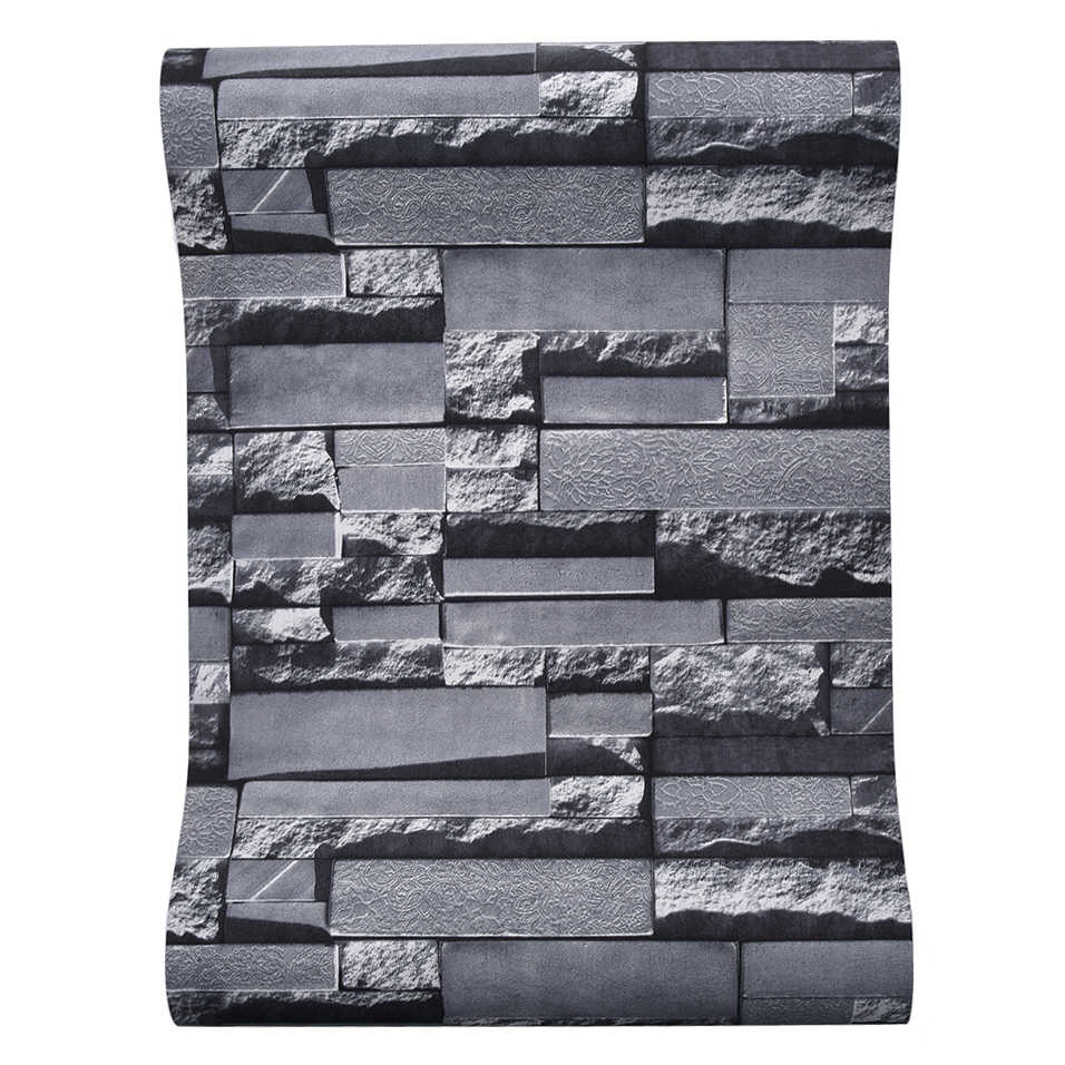 3D Slate Stone Brick Effect Washable Vinyl PVC Wall Paper Living room Background Wallcovering Wallpaper Black.jpg q50
