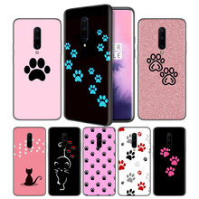Cat Dog paw design Soft Black Silicone Case Cover for OnePlus 6 6T 7 Pro 5G Ultra-thin TPU Phone Back Protective Coque Fundas