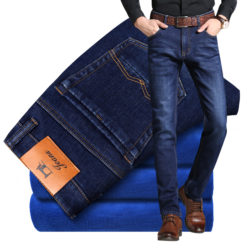 Mens Winter Stretch Thicken Jeans with Warm Fleece High Quality Denim Jean Pants Trousers Size