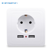 Smart 홈 Best Dual USB Port 2400mA 벽 충전기 어댑터 16A EU Standard Electrical Plug Socket 힘 Outlet Panel 110 ~ 250 볼트(China)