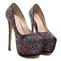 Ladies Shoes With Heels Multi Color Rhinestone Shoes Women Wedding Bridal Shoes Fashion High Heel Pumps Womens Platform Shoes