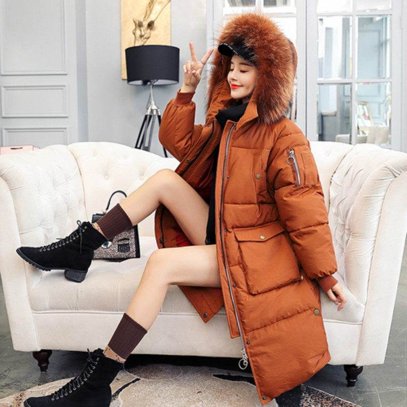 SZMXSS Hooded Coat 2018 Winter Coat Women Fur Collar Warm Casual Long Jacket Coats Female Outerwear   Parka   Loose Jaqueta Feminina