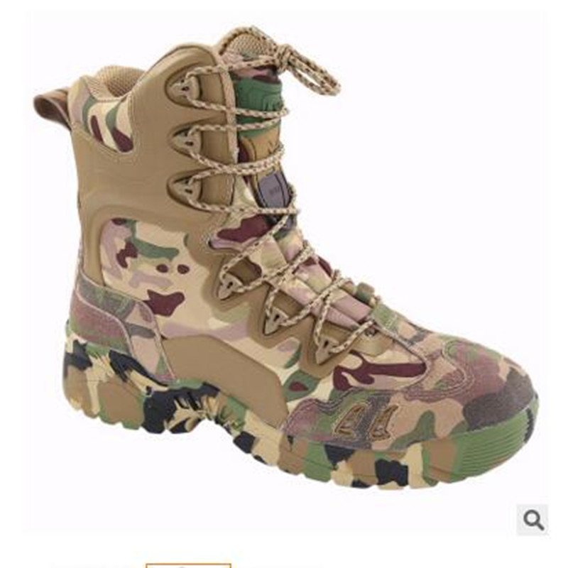 Outdoor camo climbing hiking desert high tube leather tactical anti skid boots cowhide Breathable Delta commandos shoes sneaker