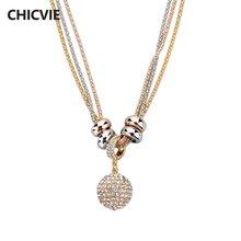 Chicvie ожерелья макси с кристаллами и бусинами кулон золотого