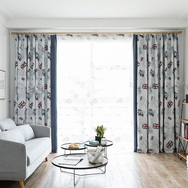Britischen Stil Vorhang für Wohnzimmer Kinder Schlafzimmer Cartoon Auto  Gedruckt Voile Vorhänge Tuch Tüll Cortinas