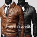 Fashion zipper -design short slim  casual stand collar water wash motorcycle leather jacket sale