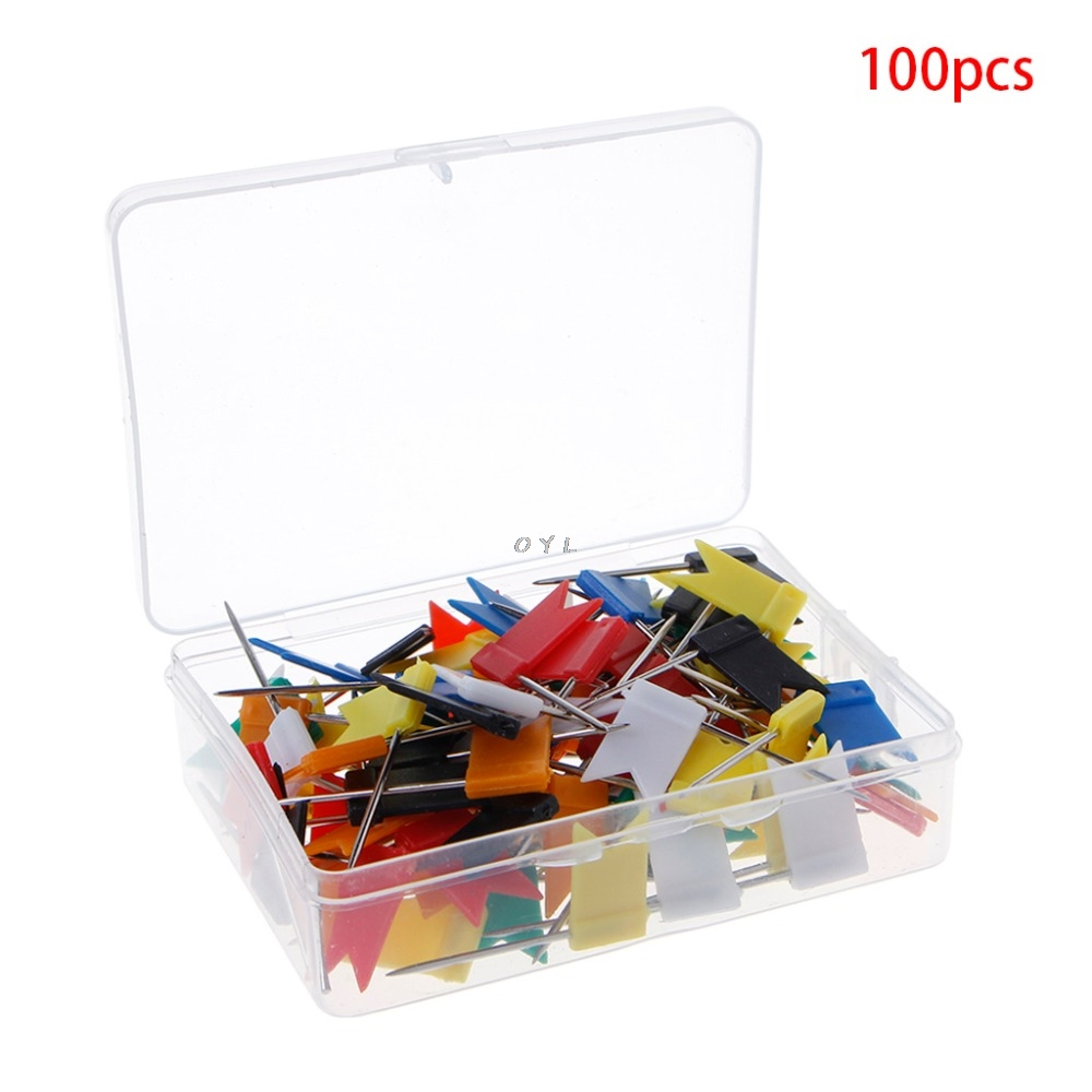 100pcs/lot Mixed Color Flag Push Pins Nail Thumb Tack Cork Board Map Drawing Pins For Home School Office Stationery