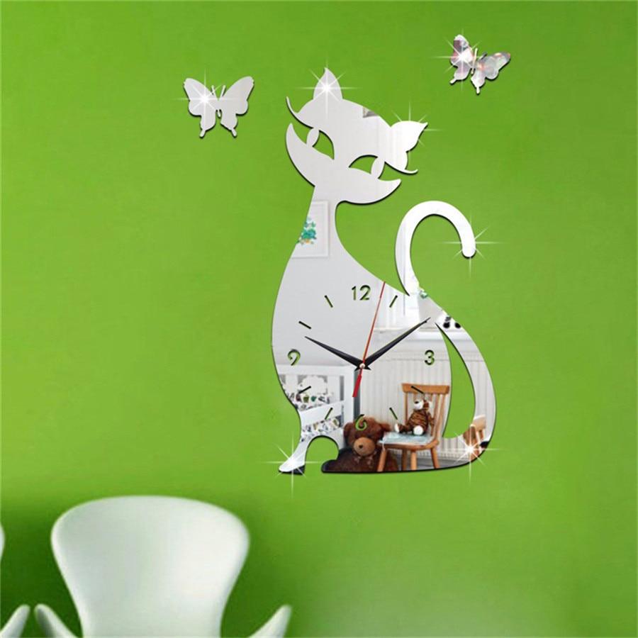 diy new wall clock cat modern design self adhesive 3d wall clock children for bedroom silentl mirror quartz watch sticker klok (6)