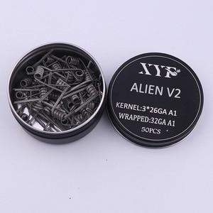 Image 2 - NEW XYF 50pcs/l00pcs Prebuilt Coil Clapton Twisted ALIEN V2 clapton wire coils Heating Resistance Wire Fit RDA RDTA DIY Atomizer