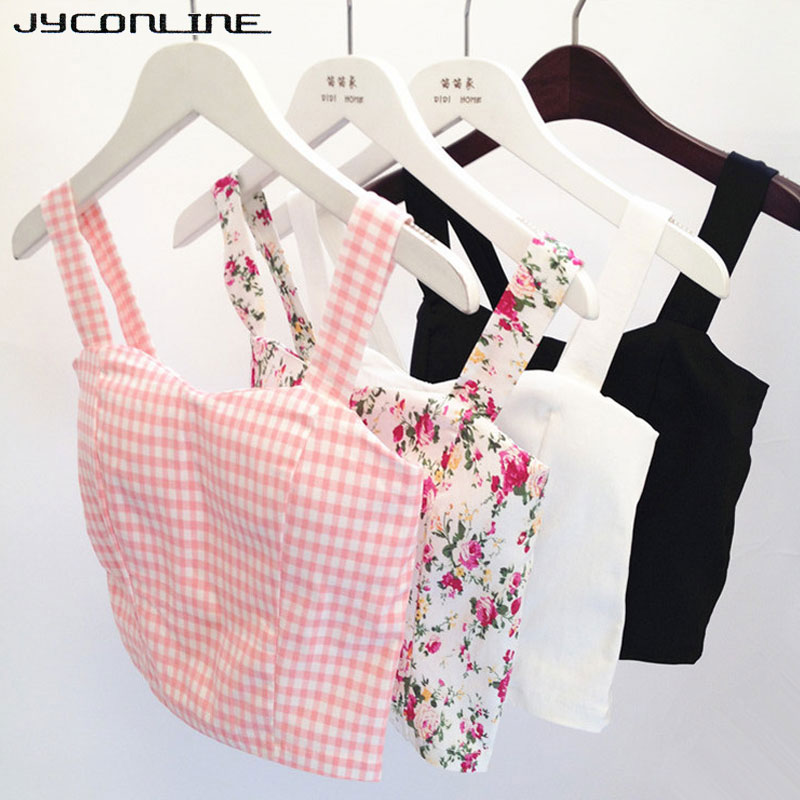 2017 Sexy Crop Top Floral Bustier Cropped Feminino Women's Tanks Top Fitness Strappy Bra Plaid Tank Top Female Camis Short Vest
