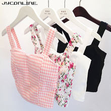 2019 Sexy Crop Top Floral Bustier Cropped Feminino Women's Tanks Top Fitness Strappy Bra Plaid Tank Top Female Camis Short Vest(China)