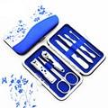 7 Unids/set Azul Y Blanco Porcelana Set de Uñas Manicura Cortauñas Tijeras Cejas Herramientas de Belleza Regalos Promocionales