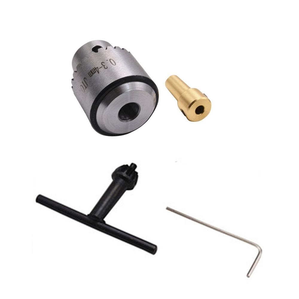 Mini Drill Chuck Micro 0.3-4Mm Jto Taper Mounted Drill Chuck And Wrench W/ Chuck Key Lathe Accessories