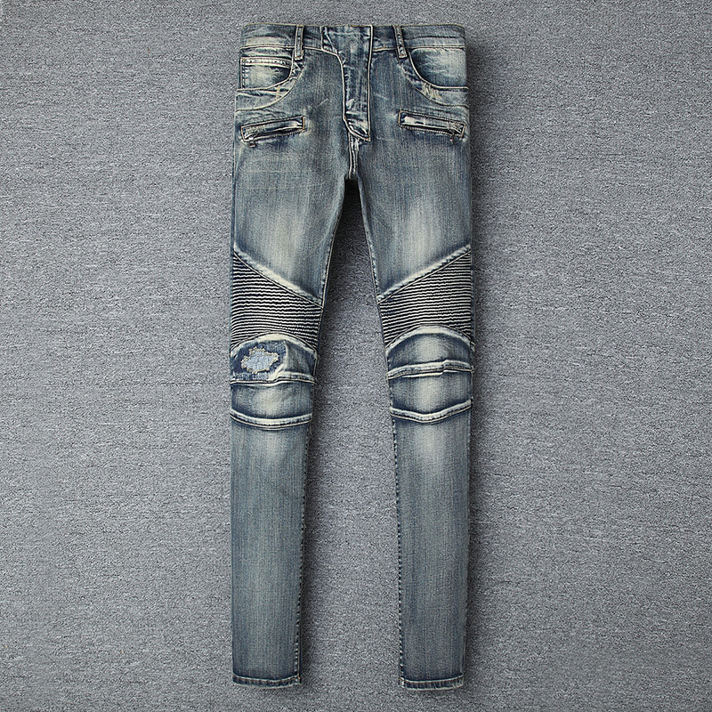 2018 Men Skinny Jeans Men Runway Slim Racer Biker Jeans Strech Hiphop Jeans For Men