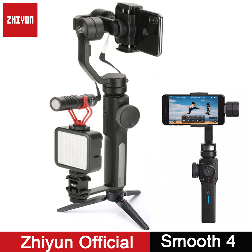 Zhiyun Gimbal Smooth Q Smooth 4 3-Axis Gimbal Vlogging Stabilizer w Boya BY-MM1 microphone for iPhone Android Gopro Sport Camera