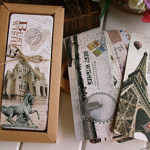 Free Shiping 30pcs Different European Scenes Vintage France Paris Eiffel Tower Bookmark Set