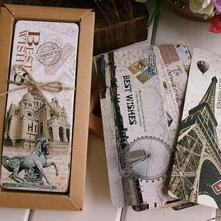 Free Shiping 30pcs Different European Scenes Vintage France Paris Eiffel Tower Bookmark Set