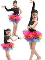 1 компл./лот девочек латинские танцы дети блесток джаз Танцы современный Танцы костюм Мода Костюмы для латиноамериканских танцев платье для...
