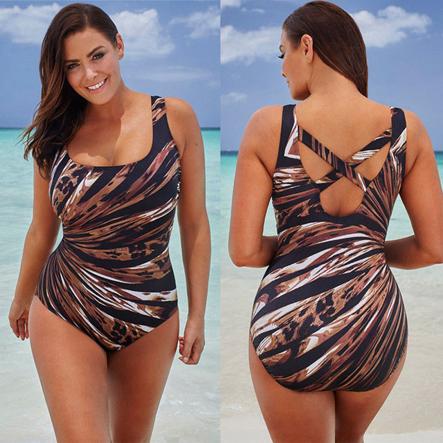 4505ac06fc 2018 New Woman One-piece Bikini Padded Coffee Stripe Print Swimsuits  Swimwear European Beachwear Bathing