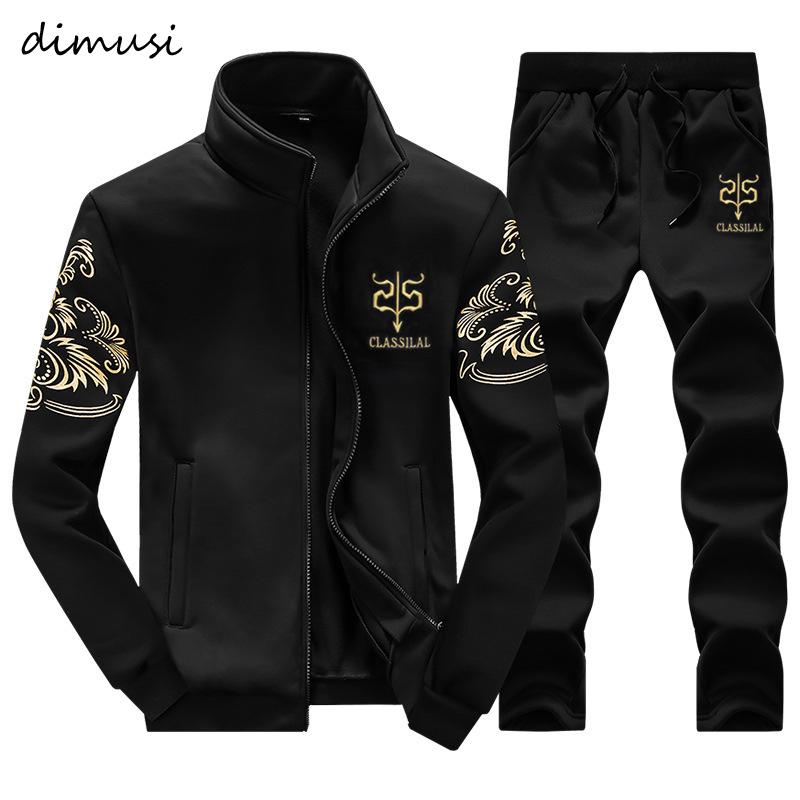 DIMUSI Mens Tracksuit Outwear Hoodie Set 2 Pieces Tracksuits Male Fitness Stand Collar Sweatshirts Jacket+Pants Sets 4XL,TA327