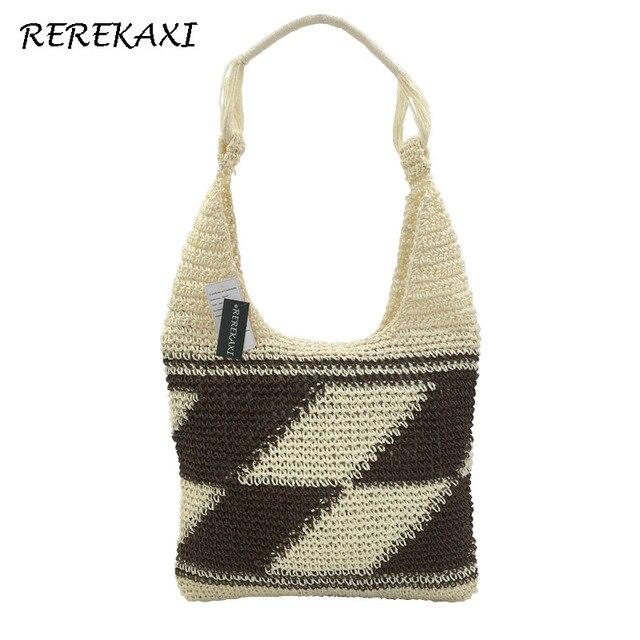 REREKAXI Hand-woven Women s Handbag Bohemian Straw Bags Summer Beach Bag  Female Shoulder Bag Ladies bc1429b5fa522