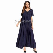 90be0fa83c8 Bleu Abaya Bangladesh vêtements islamiques avec perles caftan turc dubaï  Abayas pour les femmes musulmanes Maxi Robe à manches c.