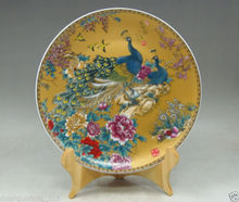 Chinese Famille Rose Porcelain noble painting 2 phoenix flowers Plate &Base