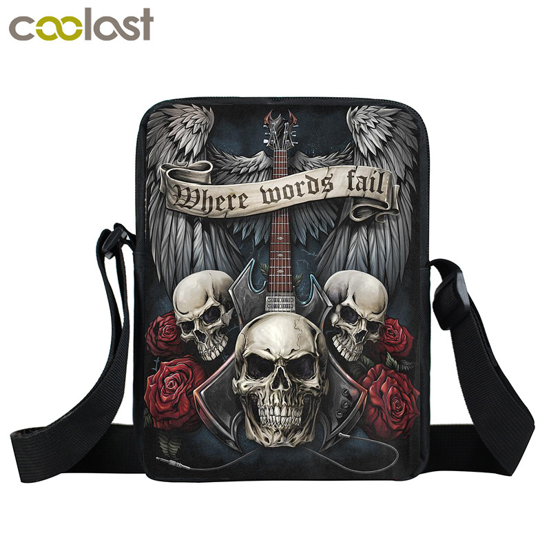 Rock Guitar Skull Rose Mini Messenger Bag Women Handbags Punk Small Shoulder Bags Heavy Metal Men Crossbody Bags Book Bag