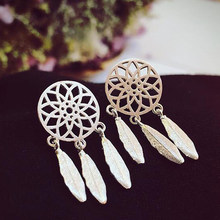 SMJEL New Fashion Ethnic Tassel Dreamcatcher Earring Jewelry Boho Feather Stud Earrings for Women Party Gift boucle d'oreille(China)