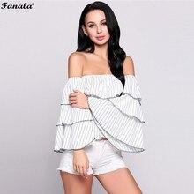 FANALA Women Sexy Blouse Summer White Shirts Stripes Ruffles Tops Slash Neck Long Butterfly Sleeve Blouse Blusas Female #50-30
