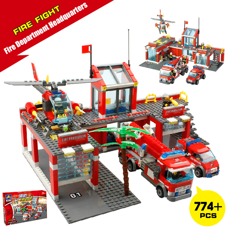 Fire fighting Station Building Blocks Bricks Educational Toys Model Building Kits Truck Car Kids Toys compatible for duplo banbao 8313 290pcs fire fighting ladder truck building block sets educational diy bricks toys christmas kids gift