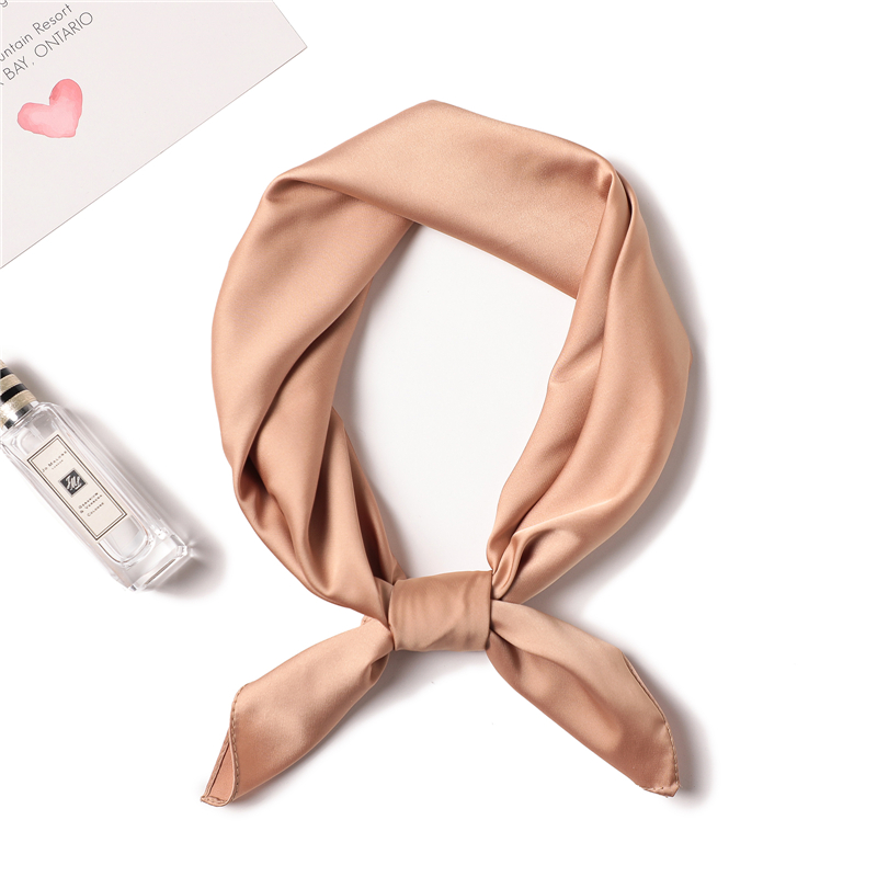 209 solid color women scarf square silk scarves hijabs neck head kerchief foulard lady shawls smooth tie band in Women 39 s Scarves from Apparel Accessories