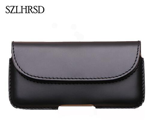 SZLHRSD hommes ceinture Clip en cuir véritable pochette taille sac couverture de téléphone pour Sony Xperia XZs XA2 XZ2 L2 XA1 étuis noir accessoire de cellule