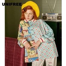 UNIFREE2019 Новое поступление, летняя рубашка поло с длинным рукавом, женская Свободная рубашка в китайском стиле, женская рубашка с ретро принтом, U193U861HC