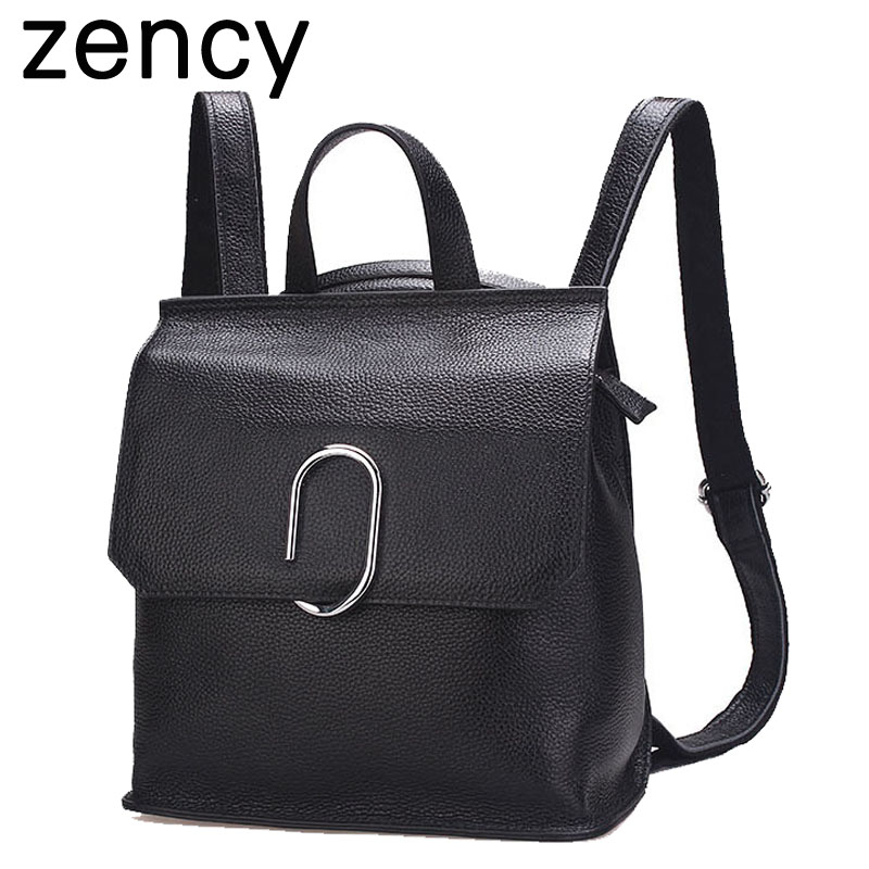 Zency Fashion Summer Genuine Leather Girl Backpacks Women Bags Girls School Bags Leather Backpack