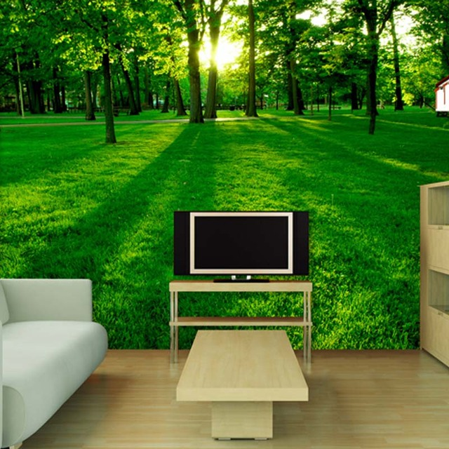 TV Backdrop Painted Natural Scenery Living Room Sofa Bedroom Wallpaper Mural Large 3d Landscape Woods